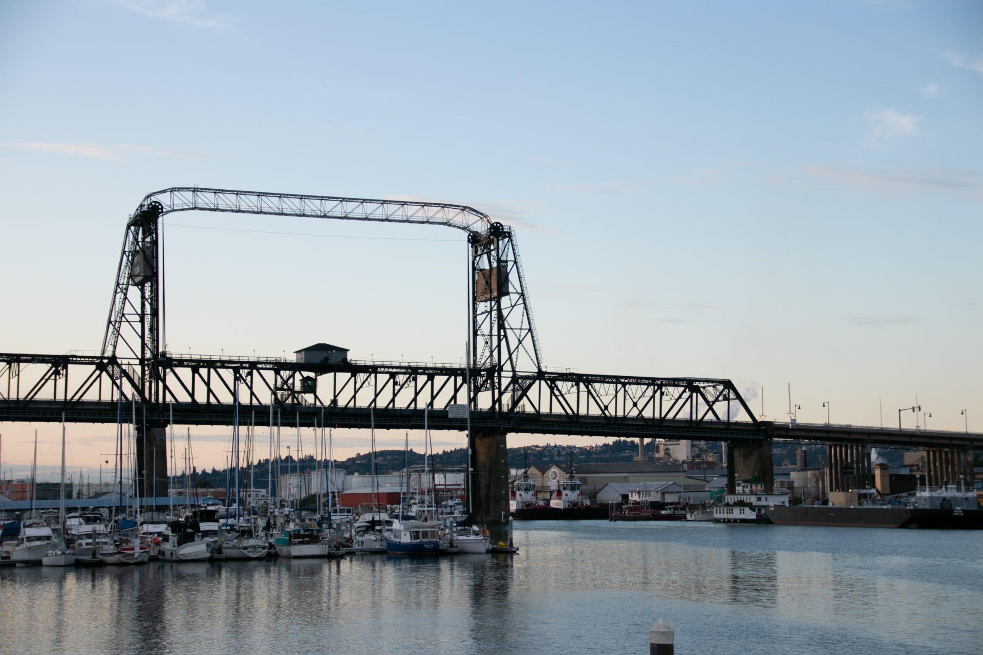 Bridge Near Boats In Harbor