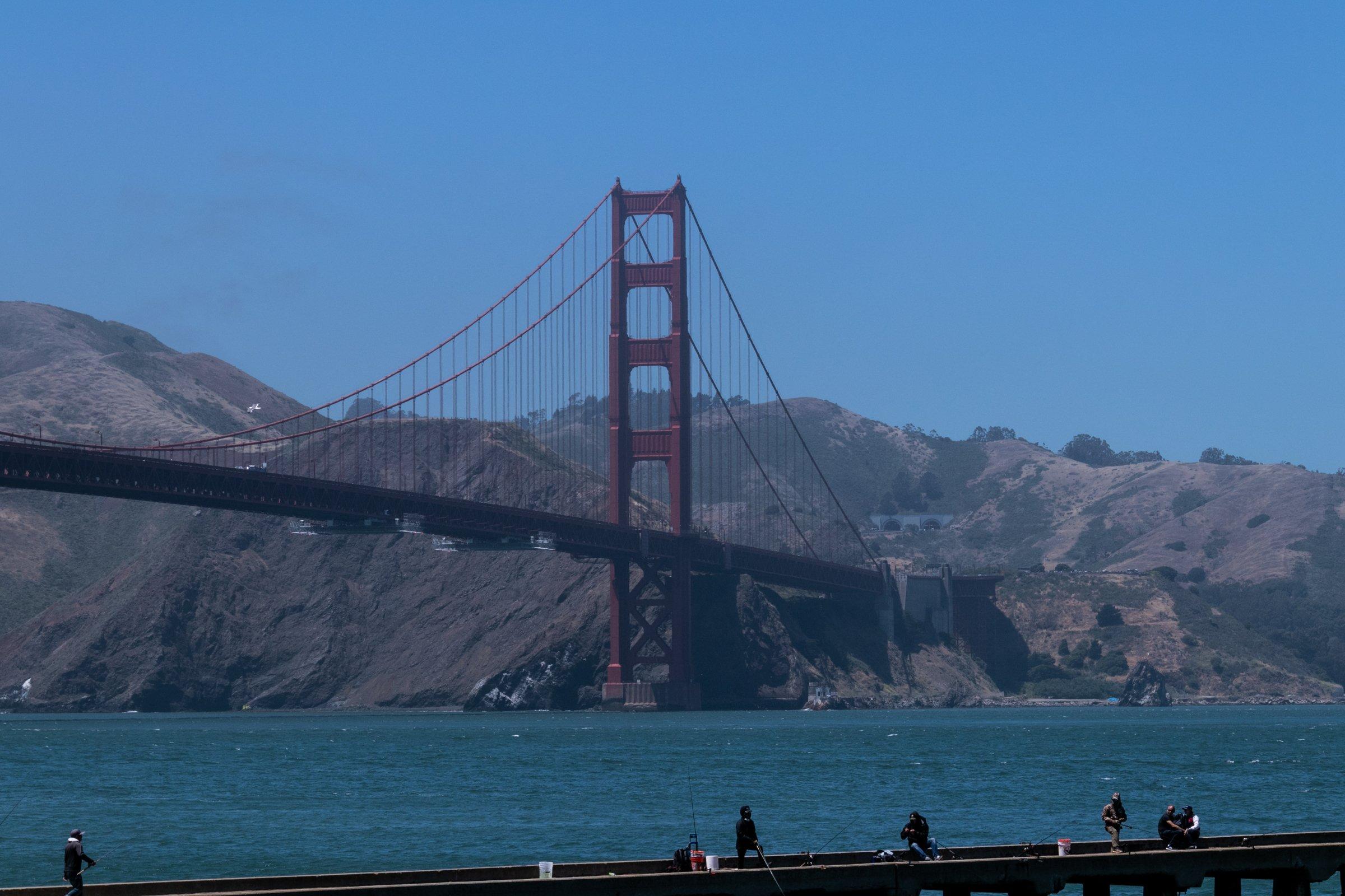 Golden Gate Bridge In San Francisco Near Hills