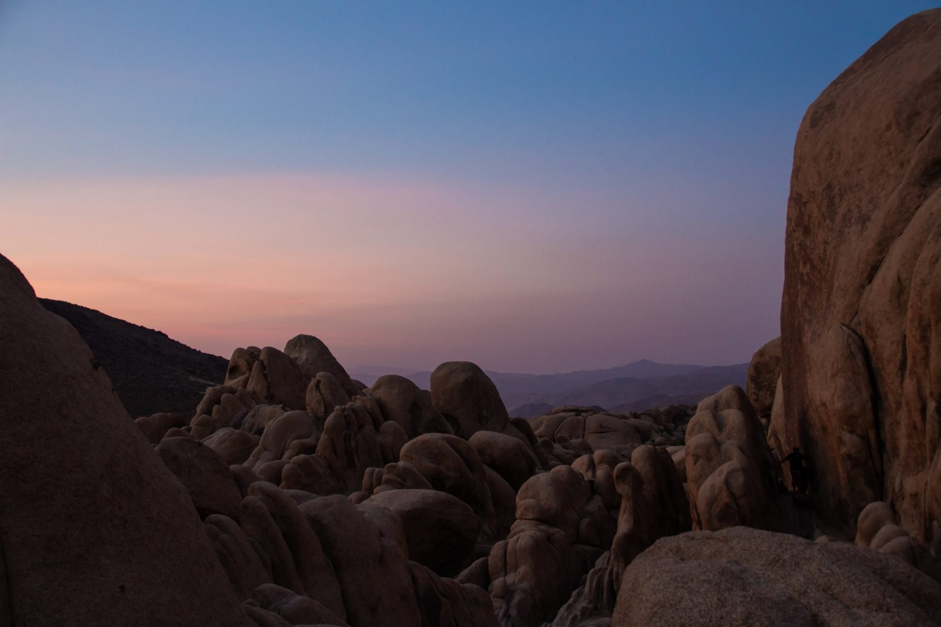 Smooth Rock Formations During Sunset In Joshua Tree Park