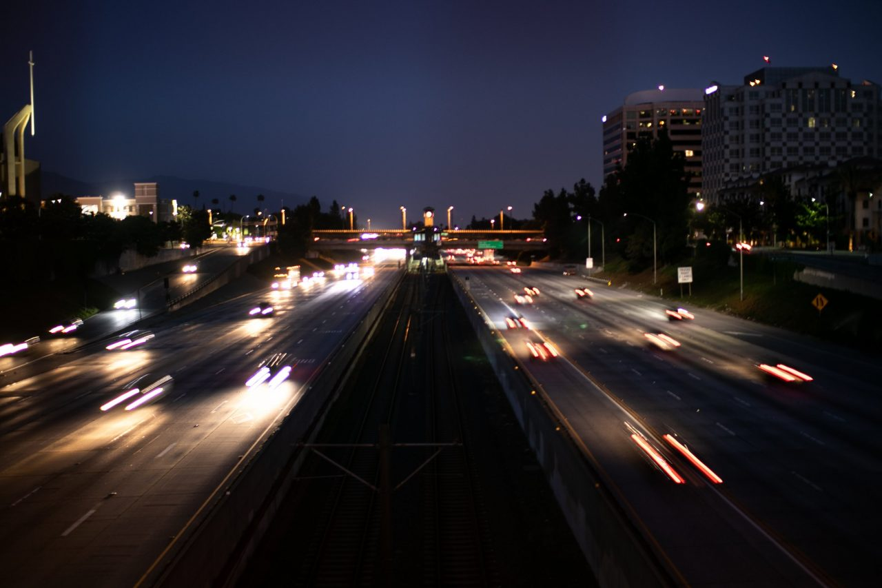 Blurry Traffic In Highway At Night