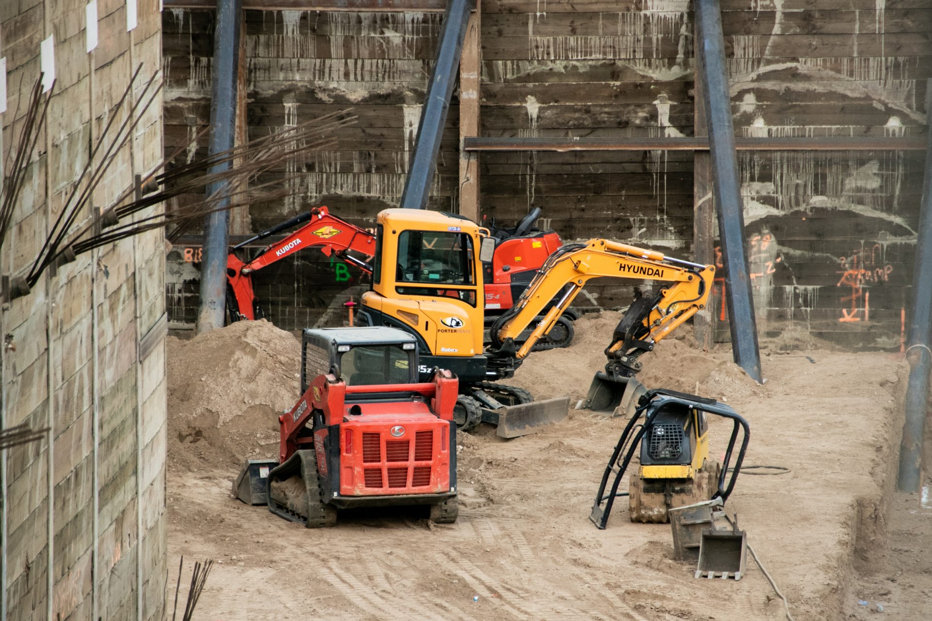 Heavy Equipment Vehicles In Construction Site