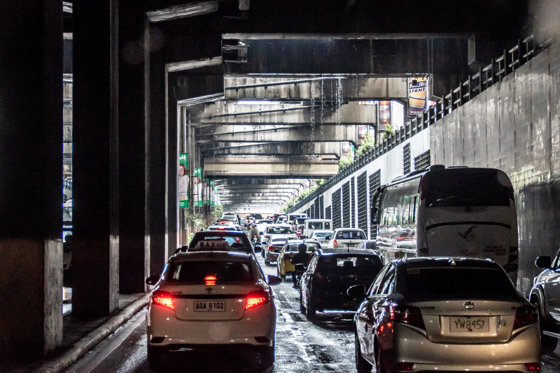 Vehicles In Traffic Jam Inside Tunnel