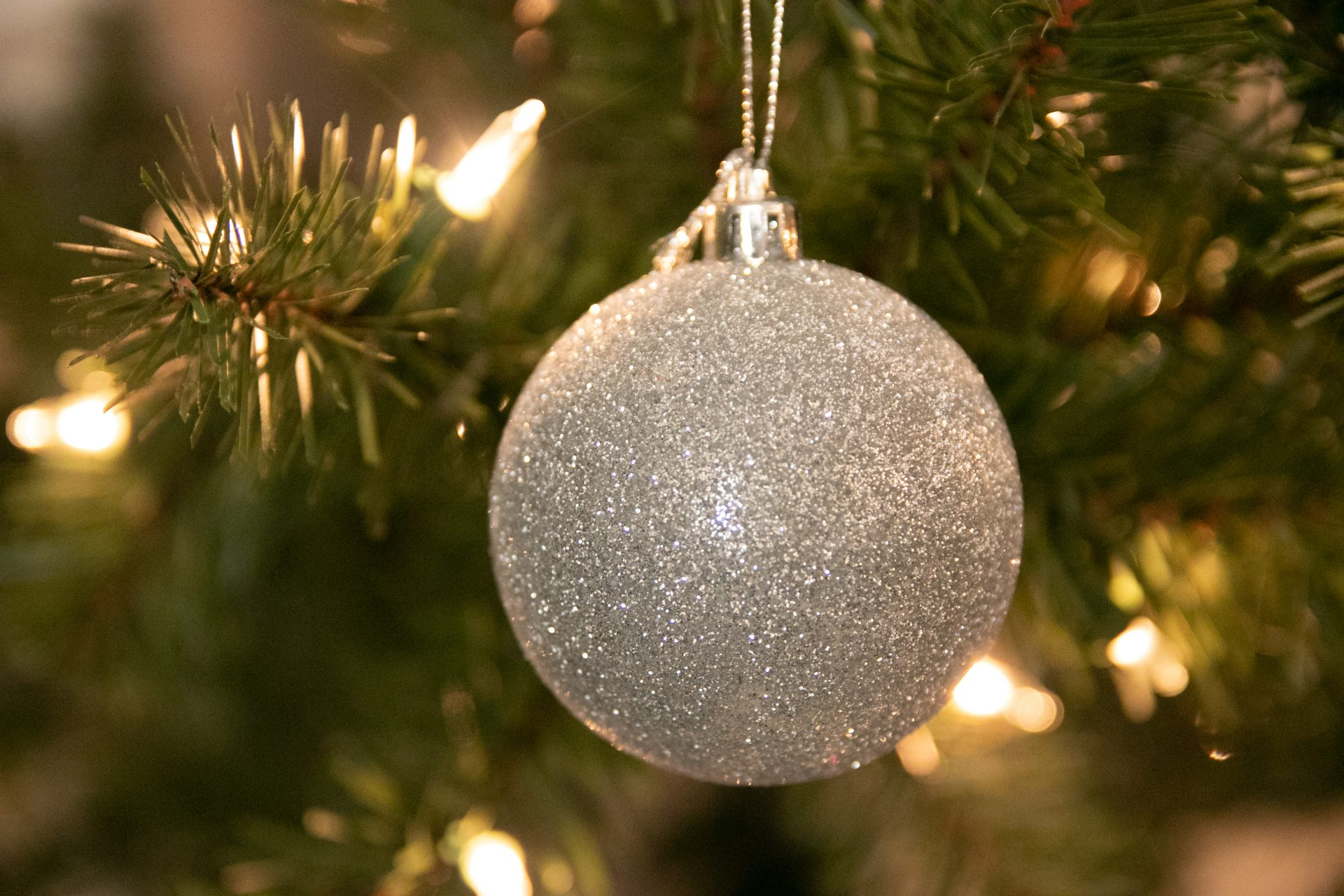 Close Up Of Glittery Bauble Ornament