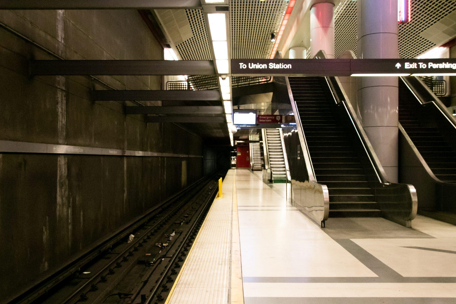 Escalators In Empty Subway Station