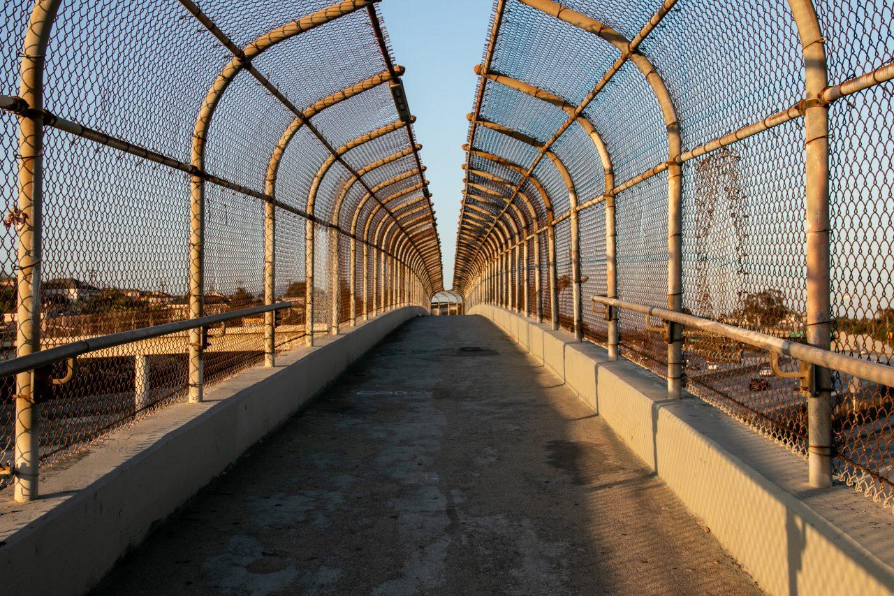 Pedestrian Bridge With Fenced Barrier