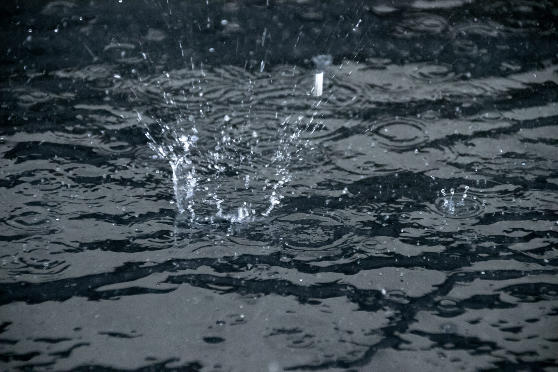 Rain Drops On Water