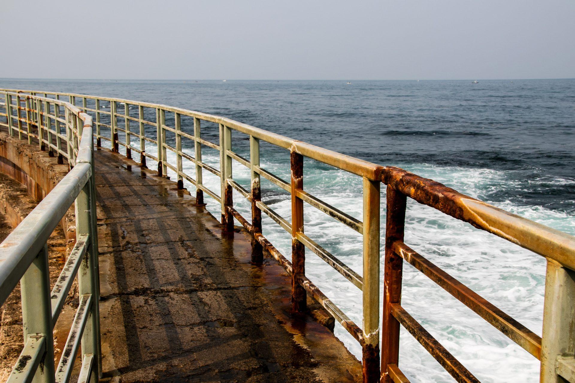 Rusty Guardrail Bordering Coastal Path