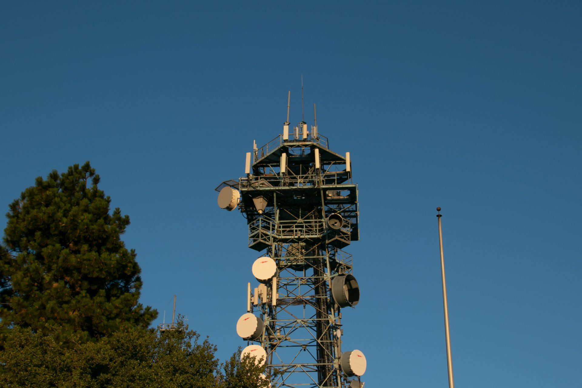 Top Of Radio Tower Next To Tree