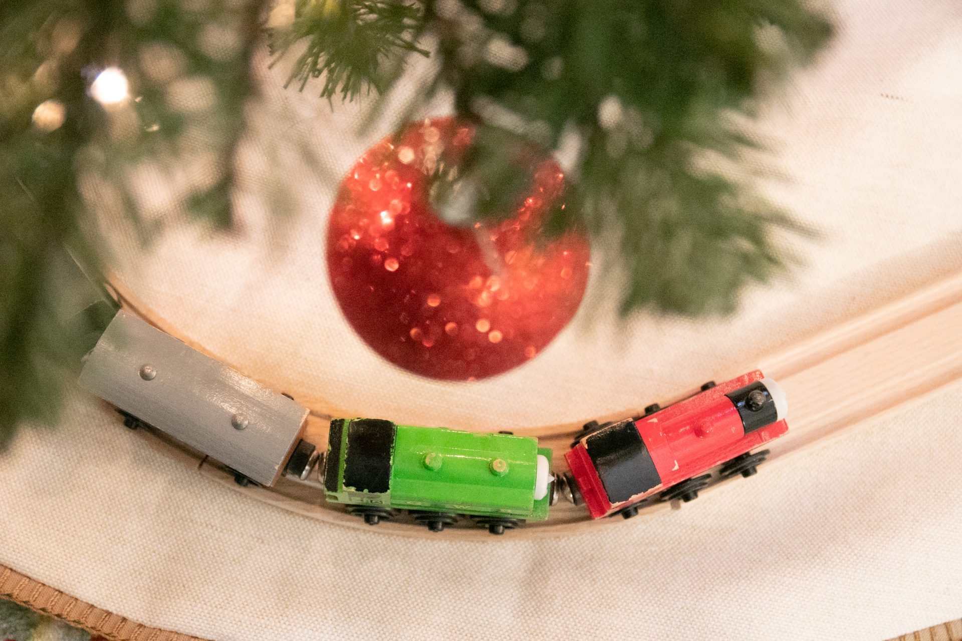 Toy Train Under Glass Ball Ornament