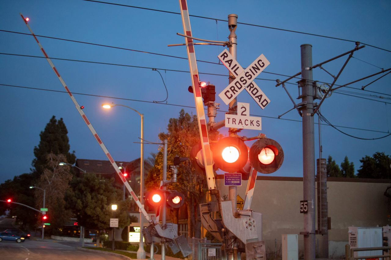 Red Lights At Railway Level Crossing