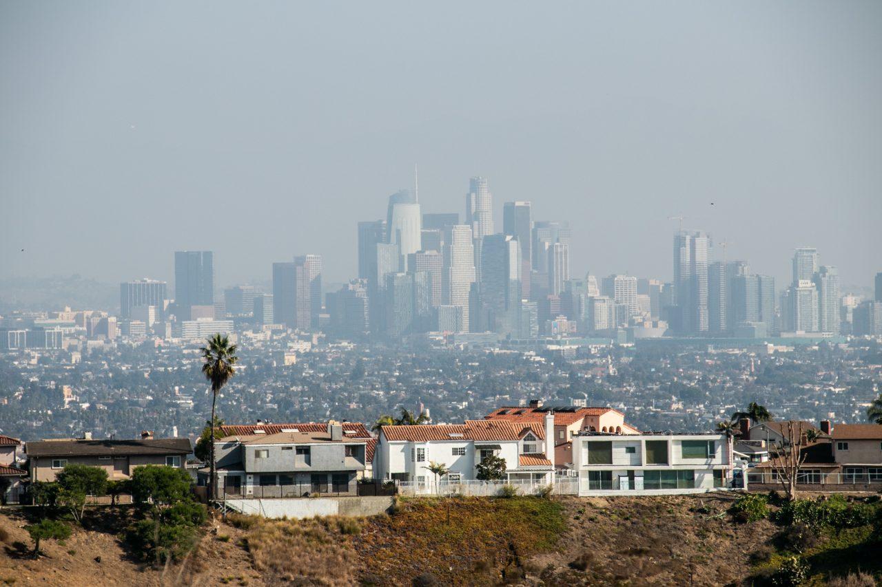 City Skyline Beyond Dwellings On High Ground