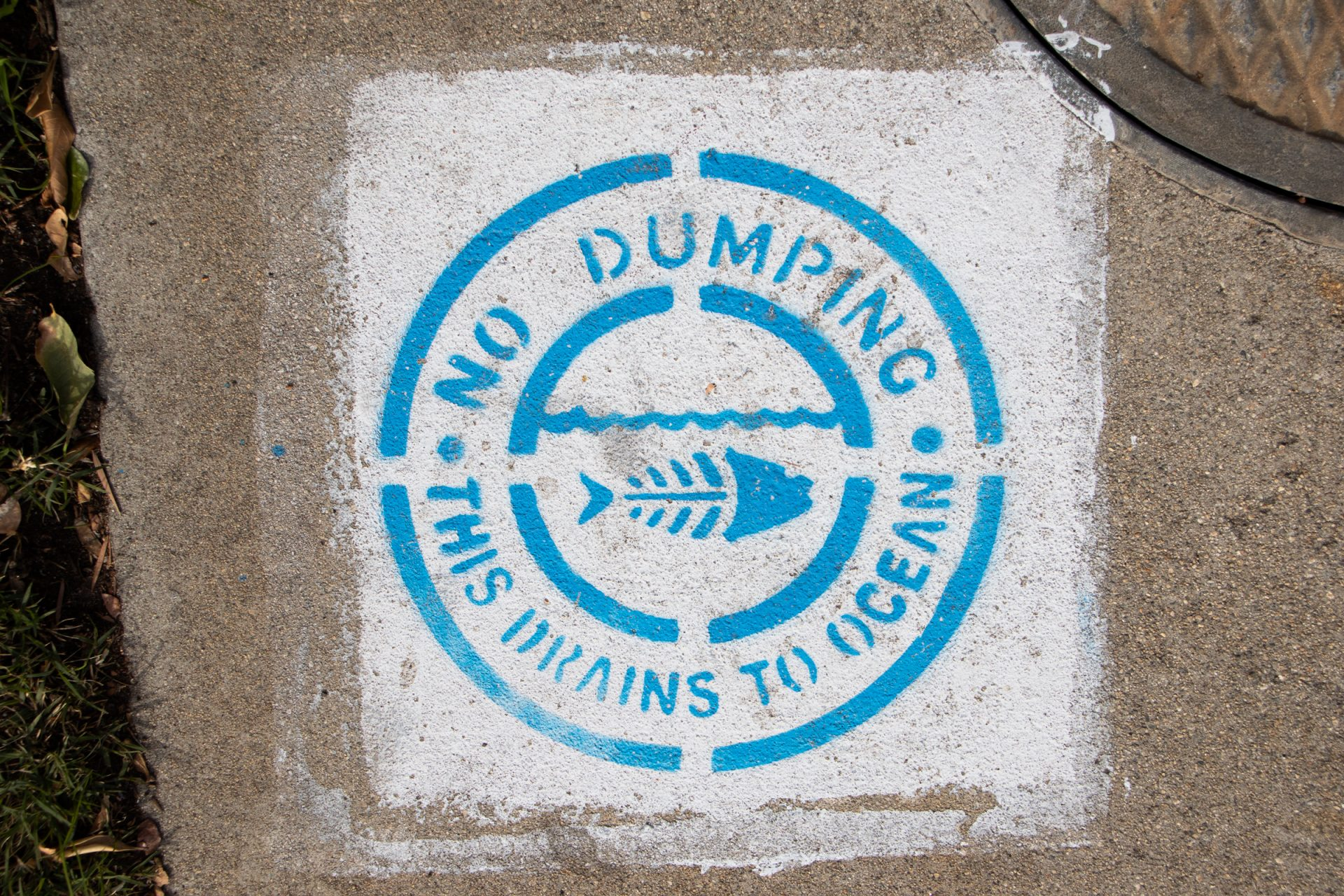 No Dumping Sign On Concrete