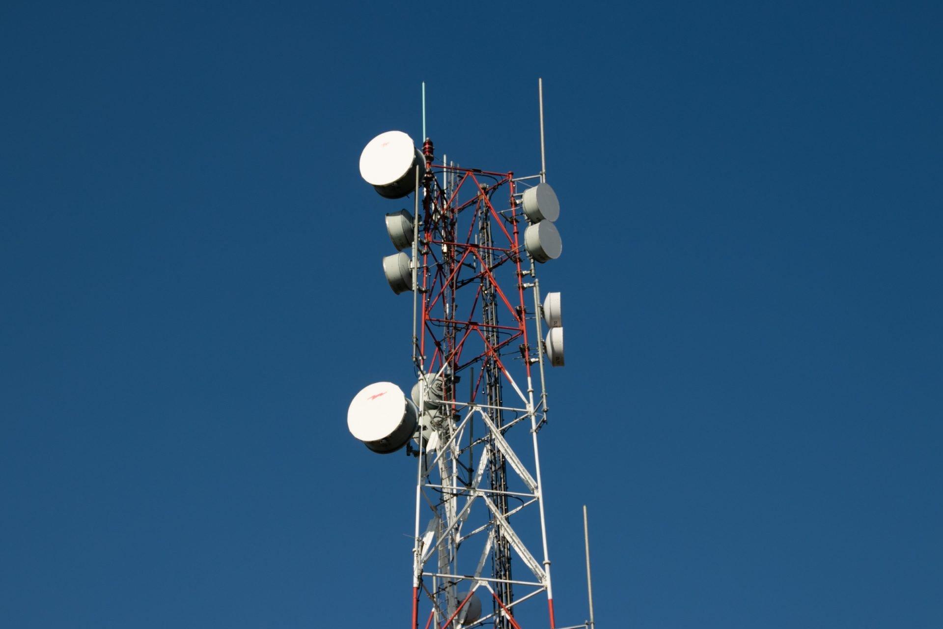 Satellite Dishes On Radio Tower