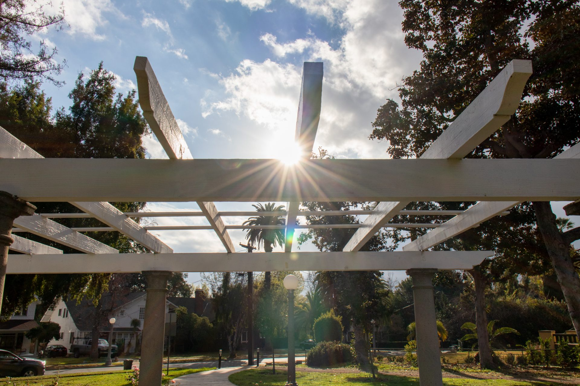 Sunrays Through Structure In Park