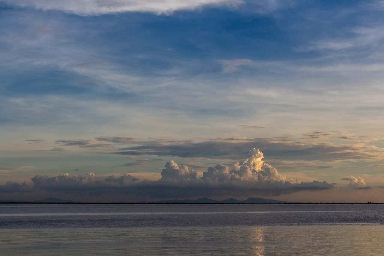 Clouds Near Horizon During Sunset