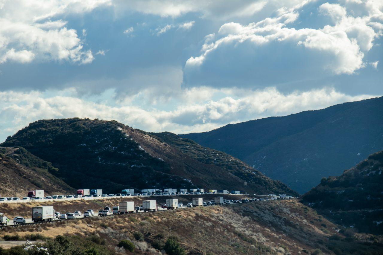 Heavy Traffic In Mountain Highway