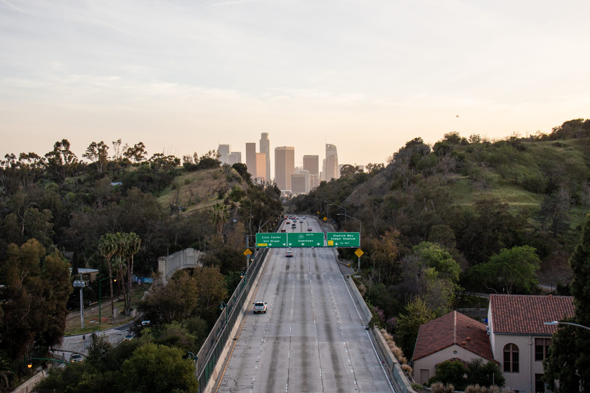 Highway Towards Downtown Los Angeles