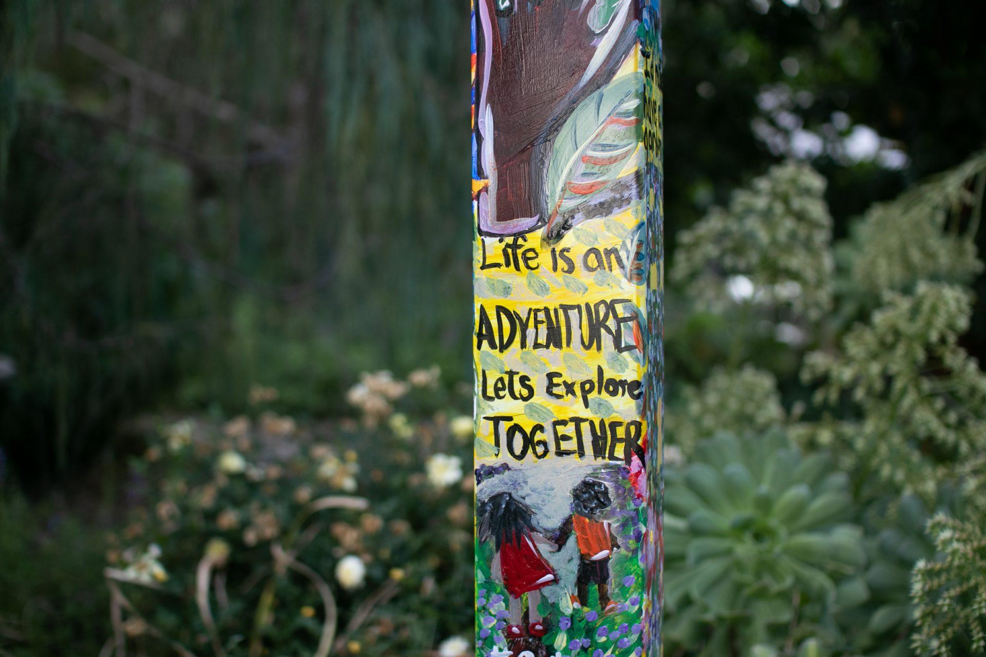 Small Graffiti On Street Pole