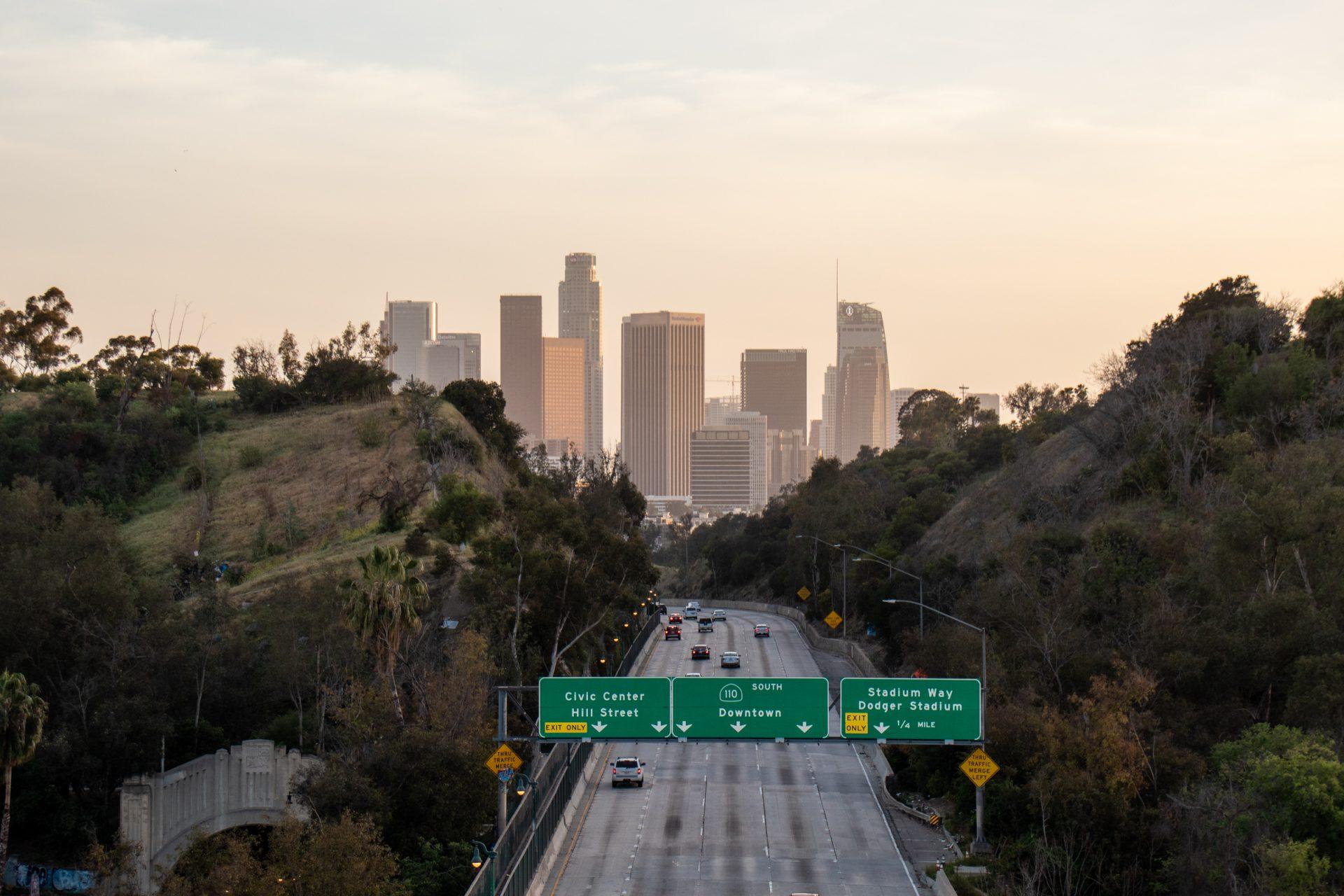 Partial City Skyline Beyond Highway