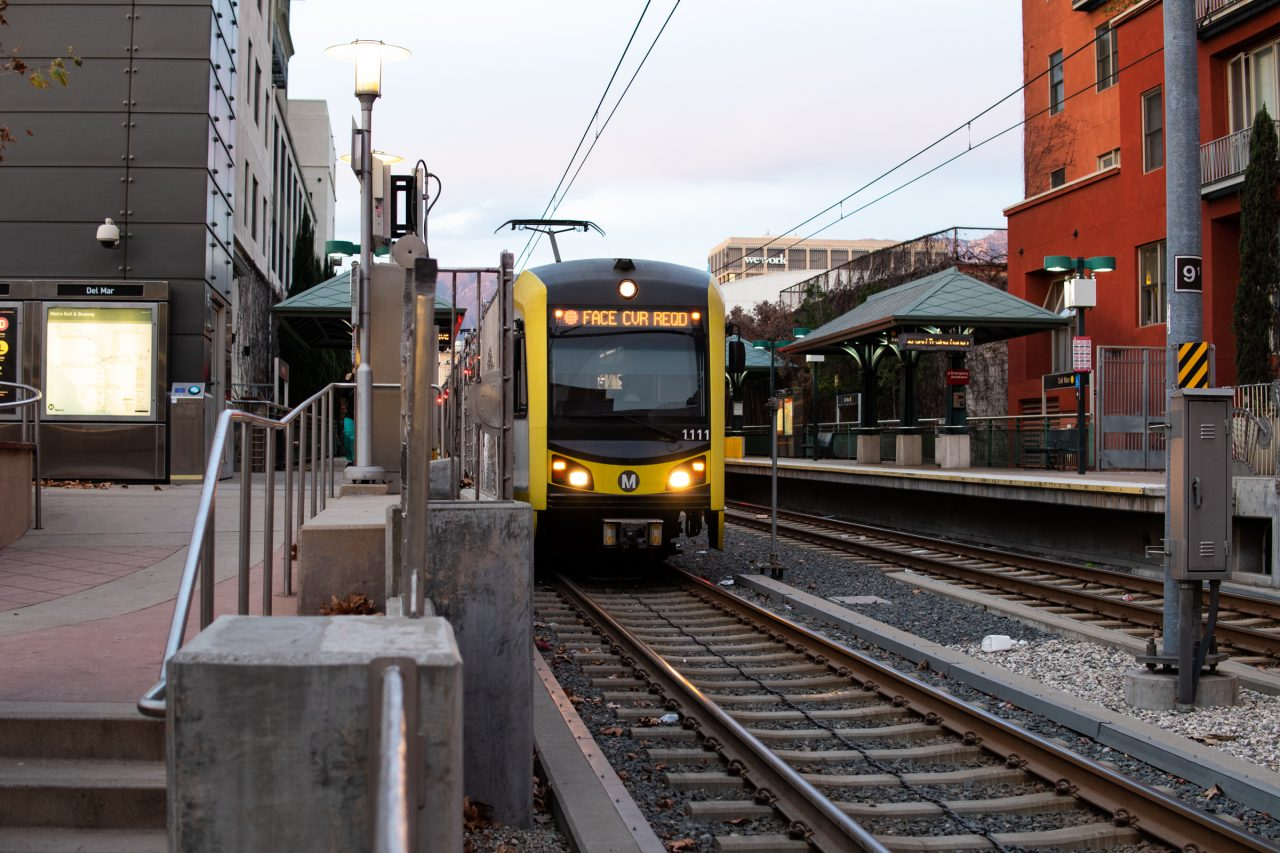 Train On Tracks At Station