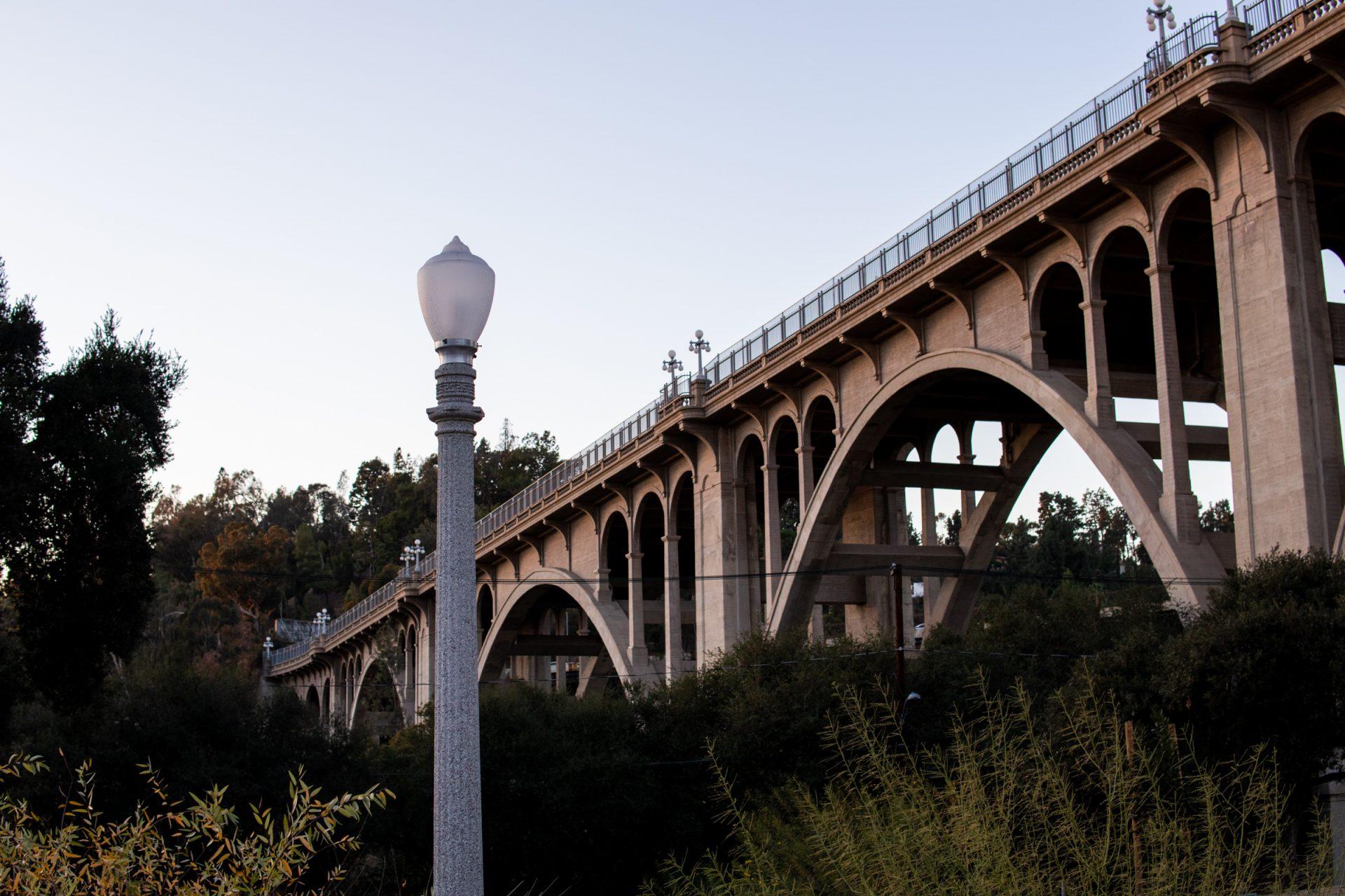 Arch Bridge Beyond Streetlight And Plants
