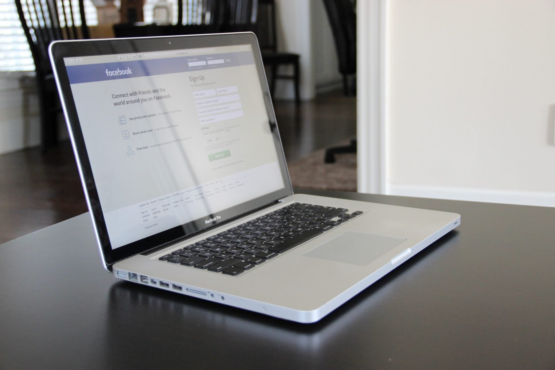 Macbook Laptop Opened to Facebook