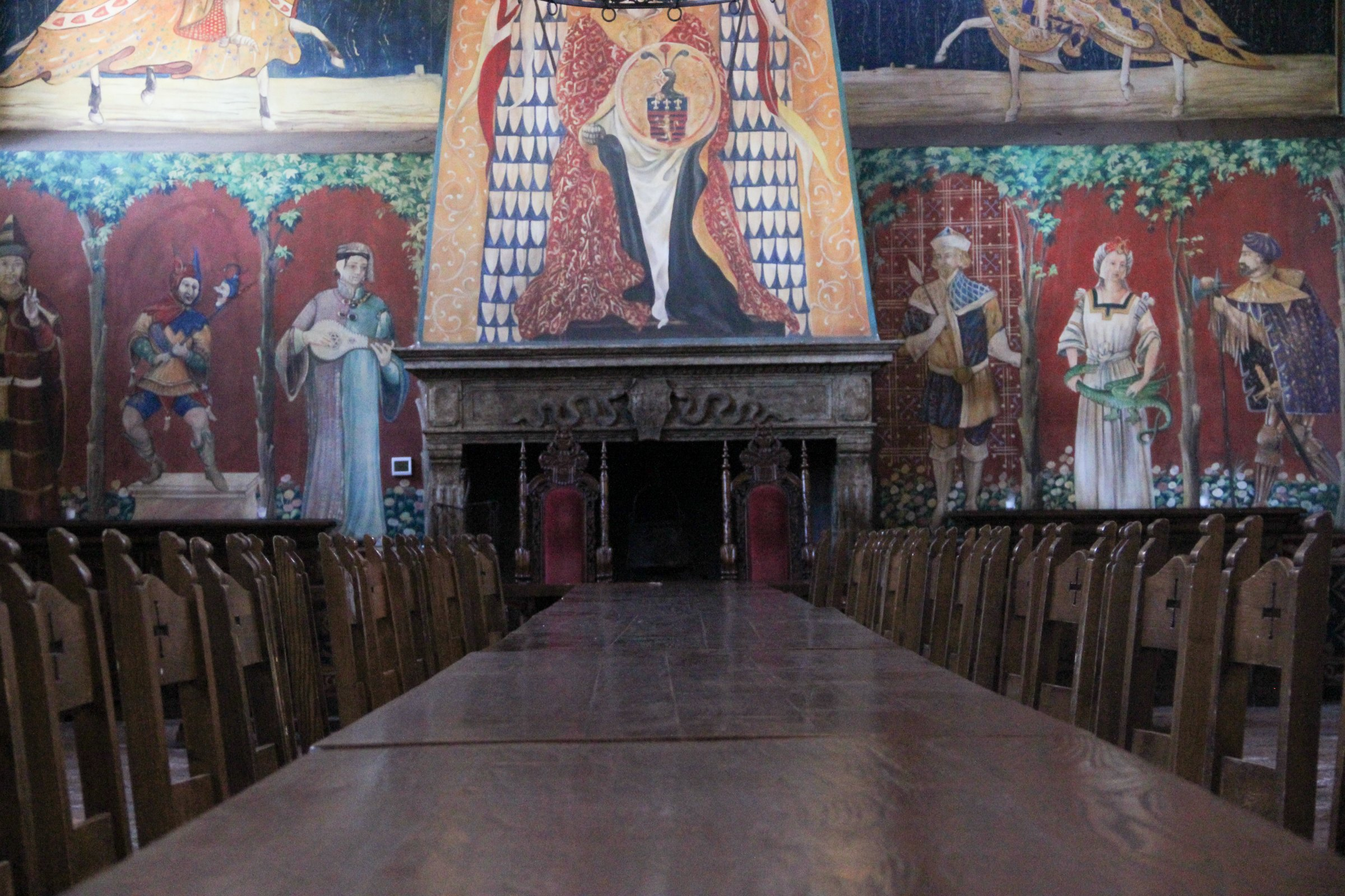 Long Banquet Table in Medieval Room