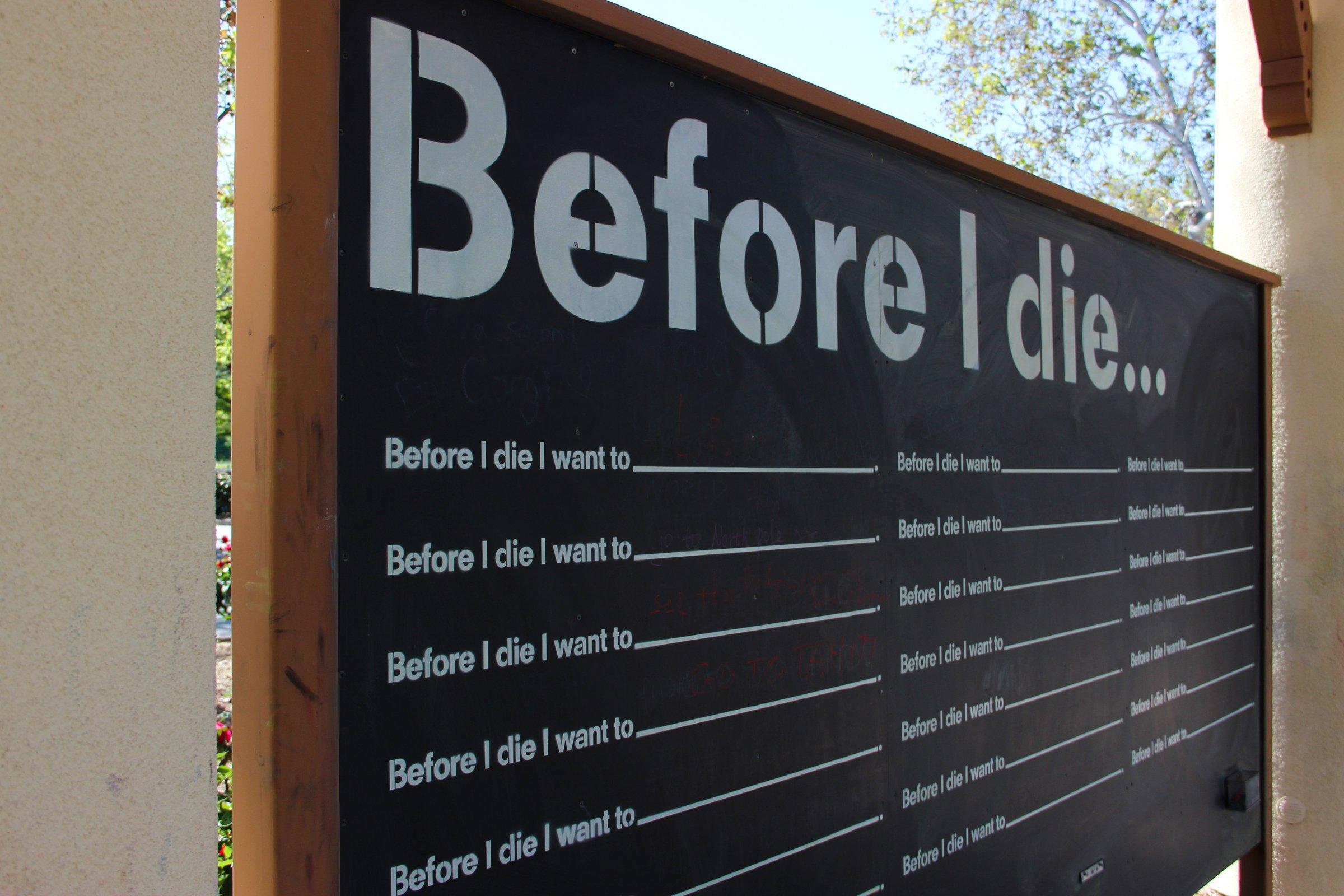"""Before I Die"" Chalkboard Sign"