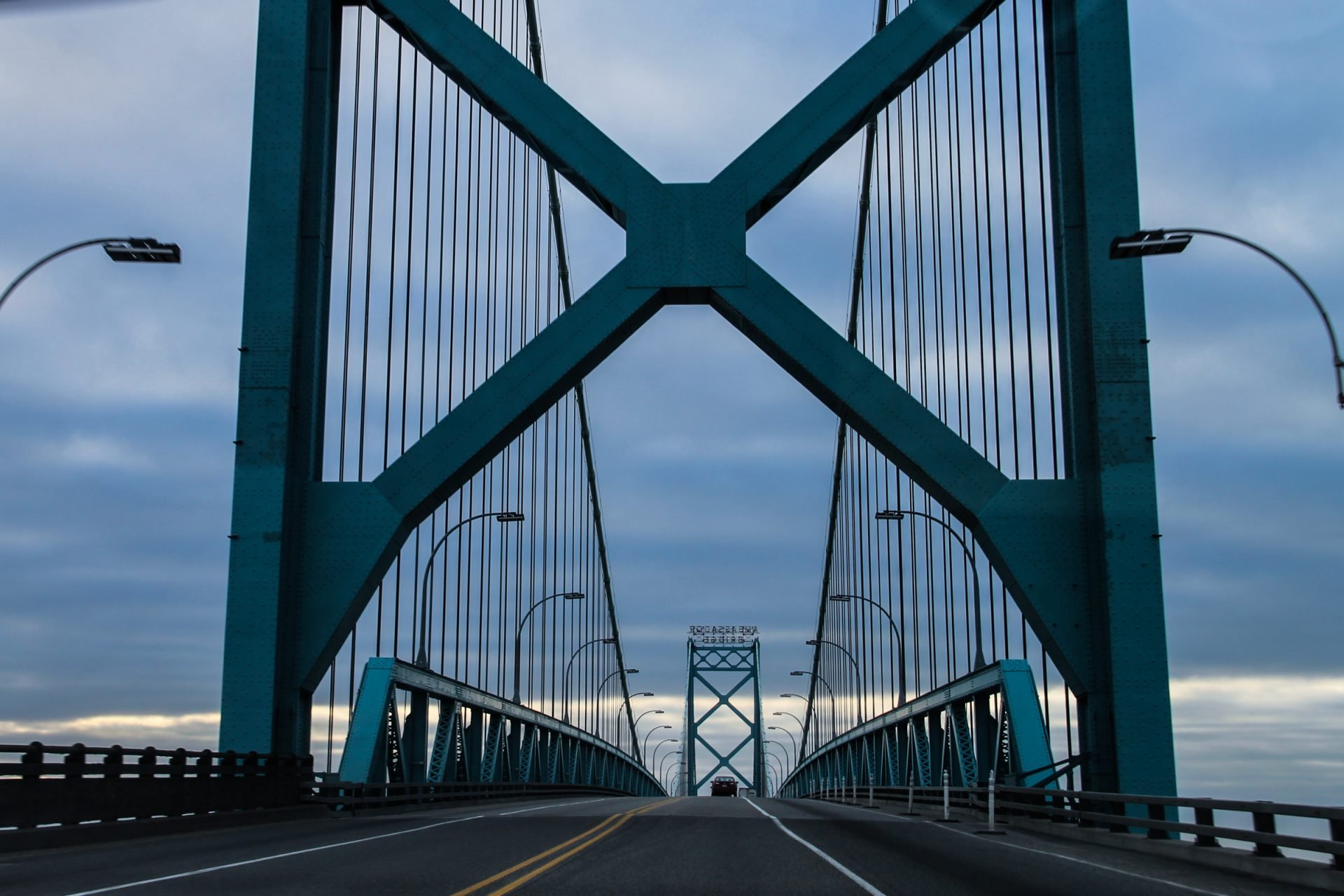 Blue Steel Bridge on Cloudy Day