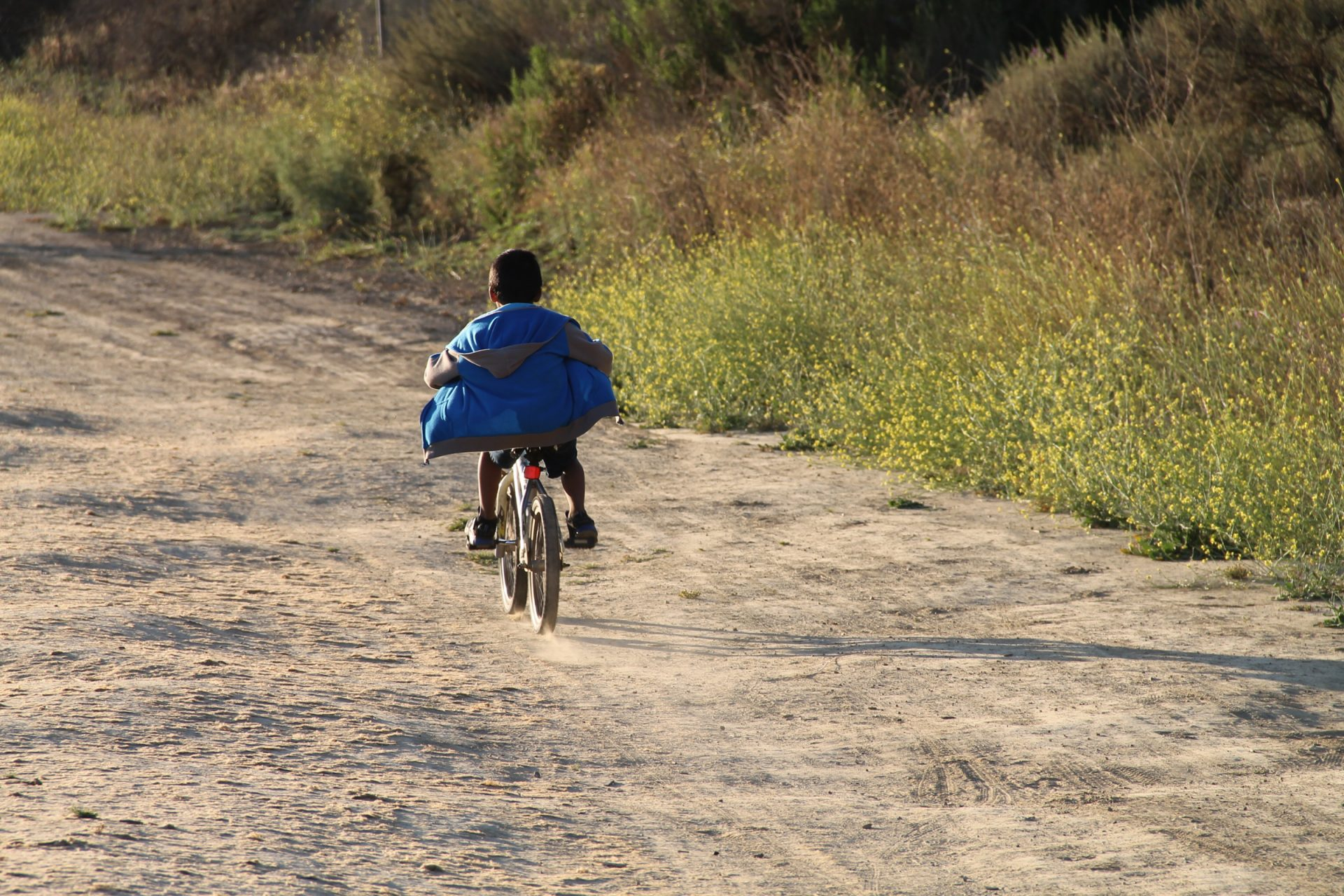 Boy Riding Bike Down Dirt Path