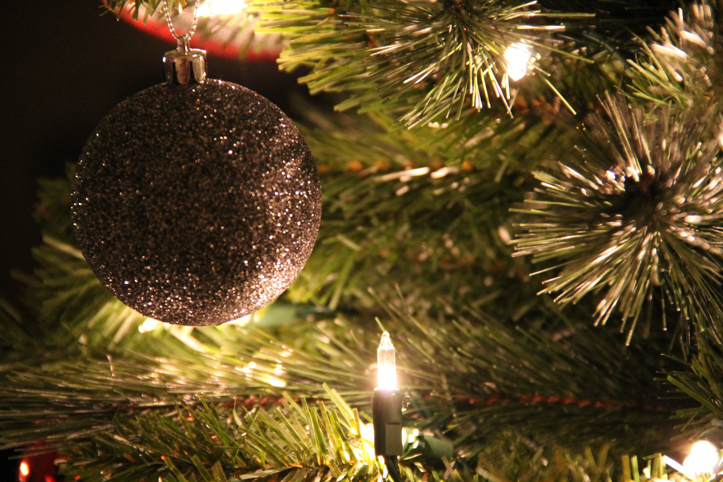 Close Up Of Christmas Tree With Silver Ball Ornament