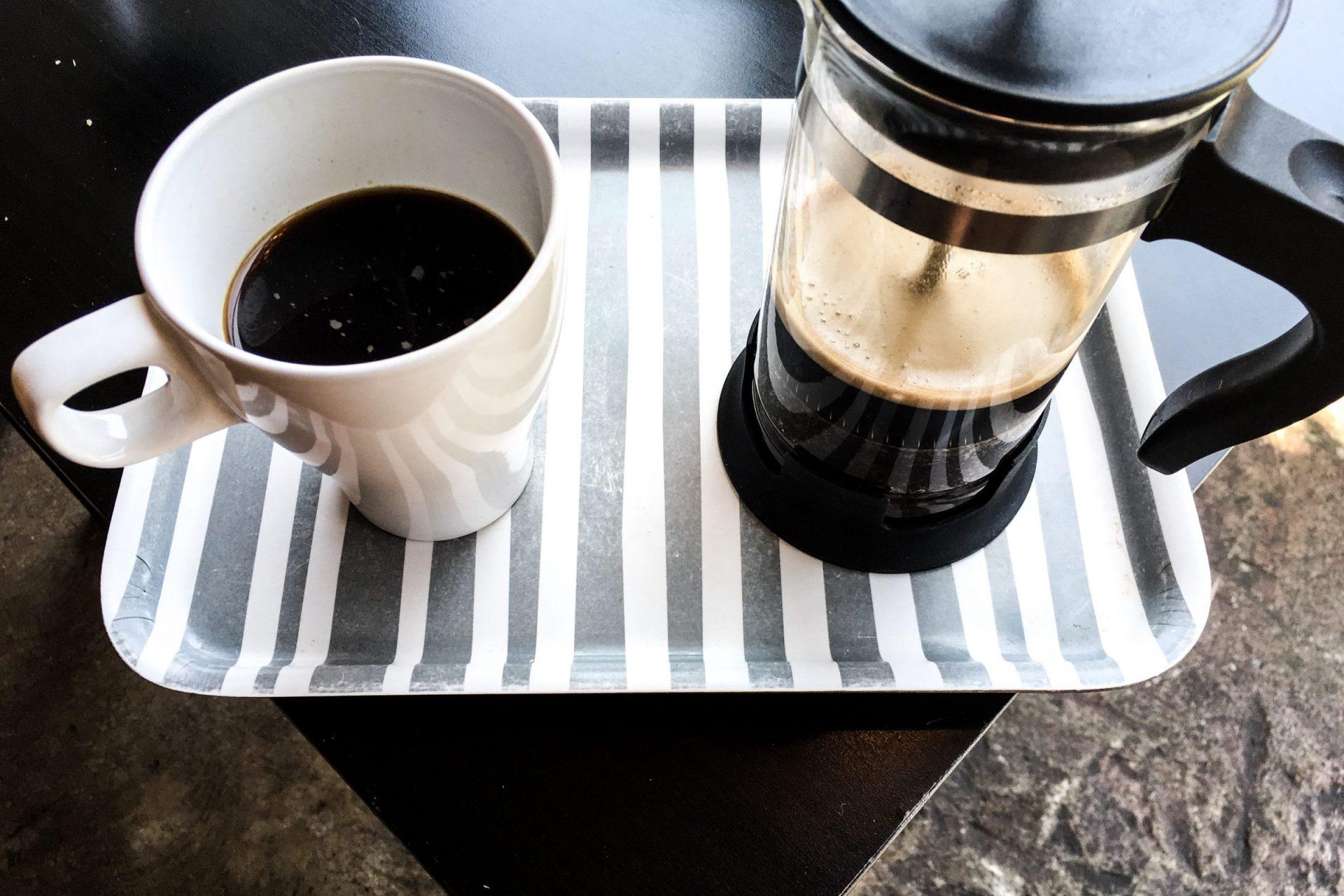 Coffee Mug & French Press on a Tray