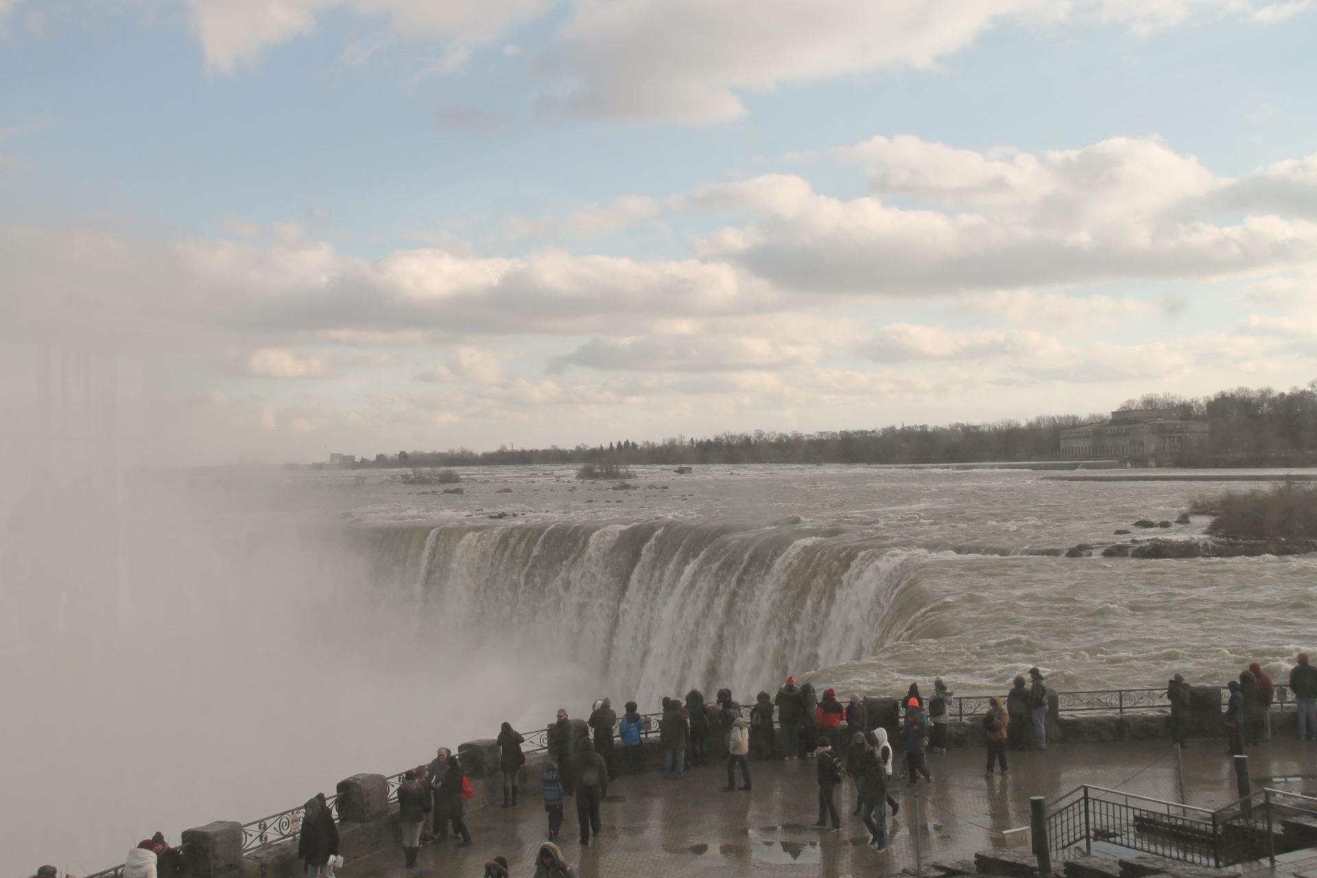 Crowd of People Watching Niagara Falls
