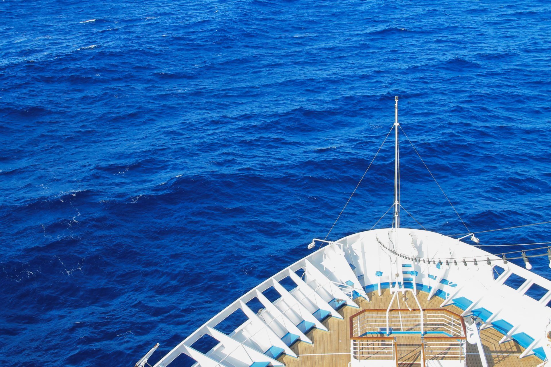 Stern of Cruise Ship on Ocean