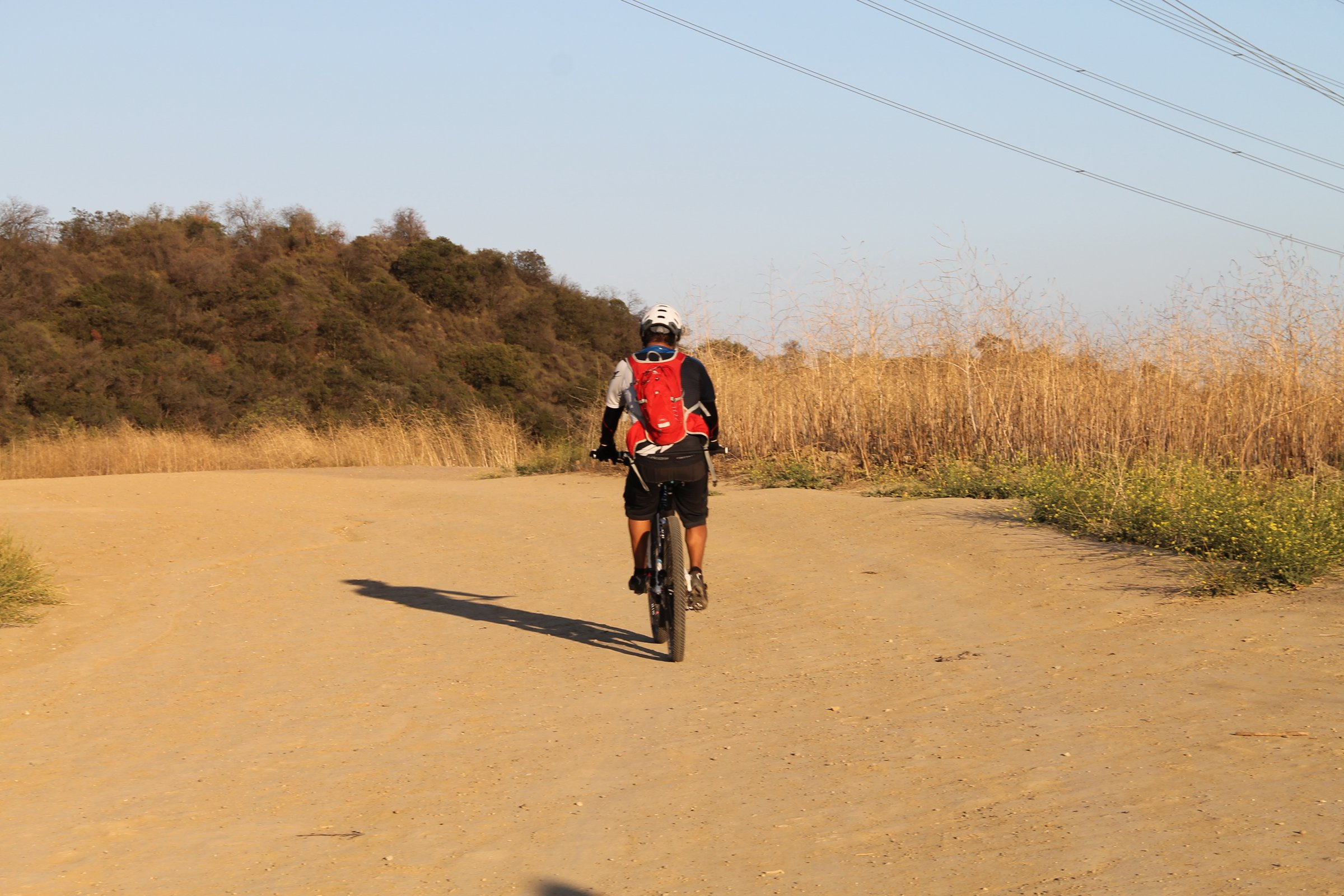 Cyclist Riding Bicycle on Dirt Path