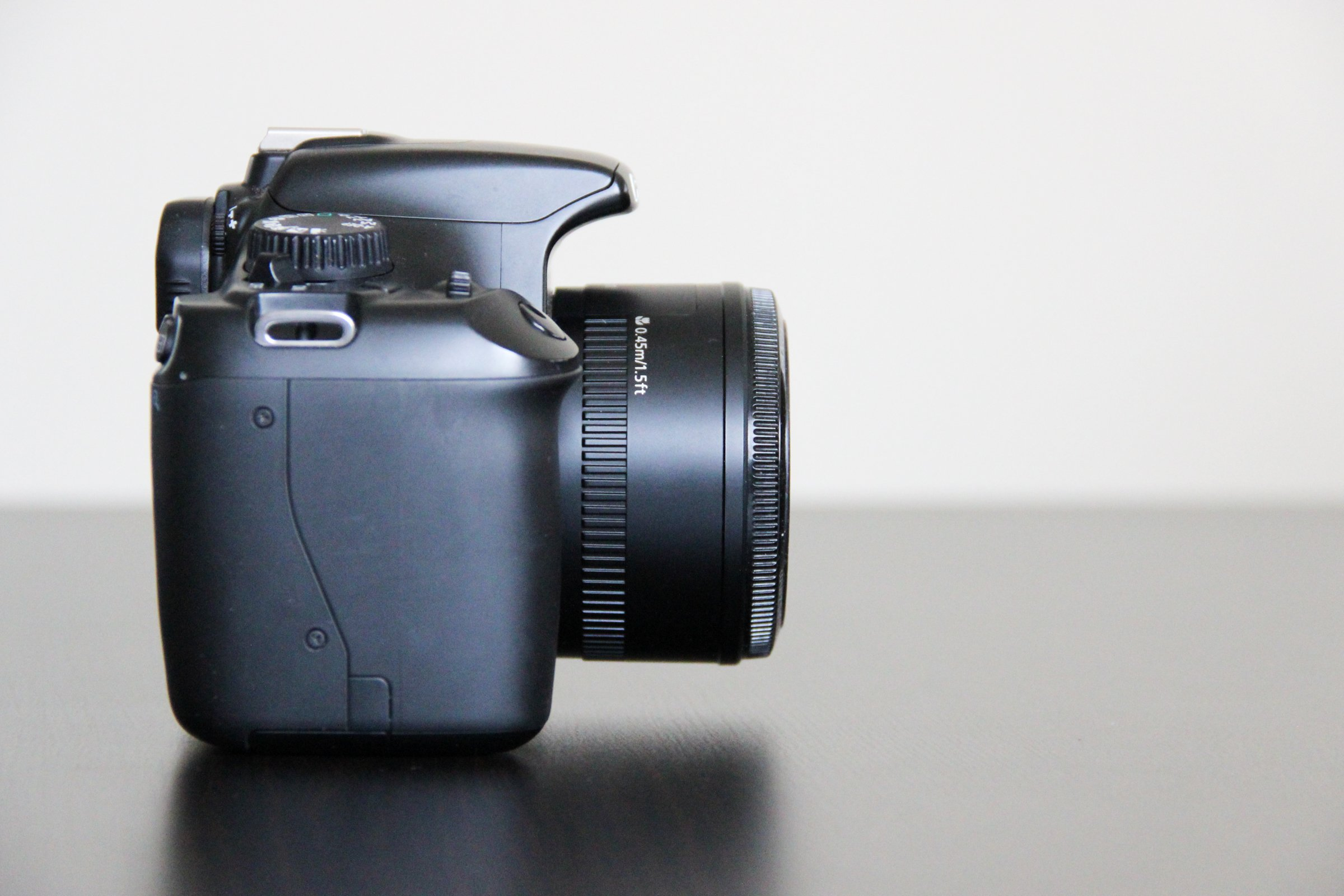Side View of DLSR Camera