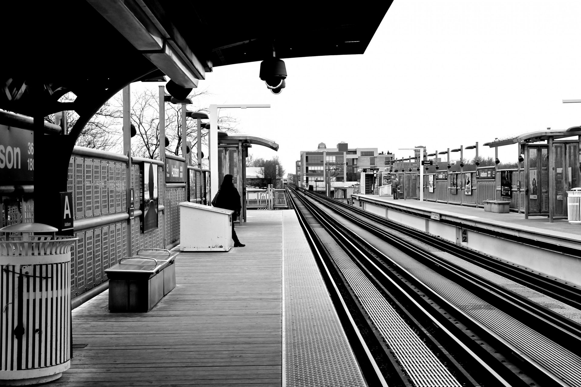 Empty Train Station in Black & White