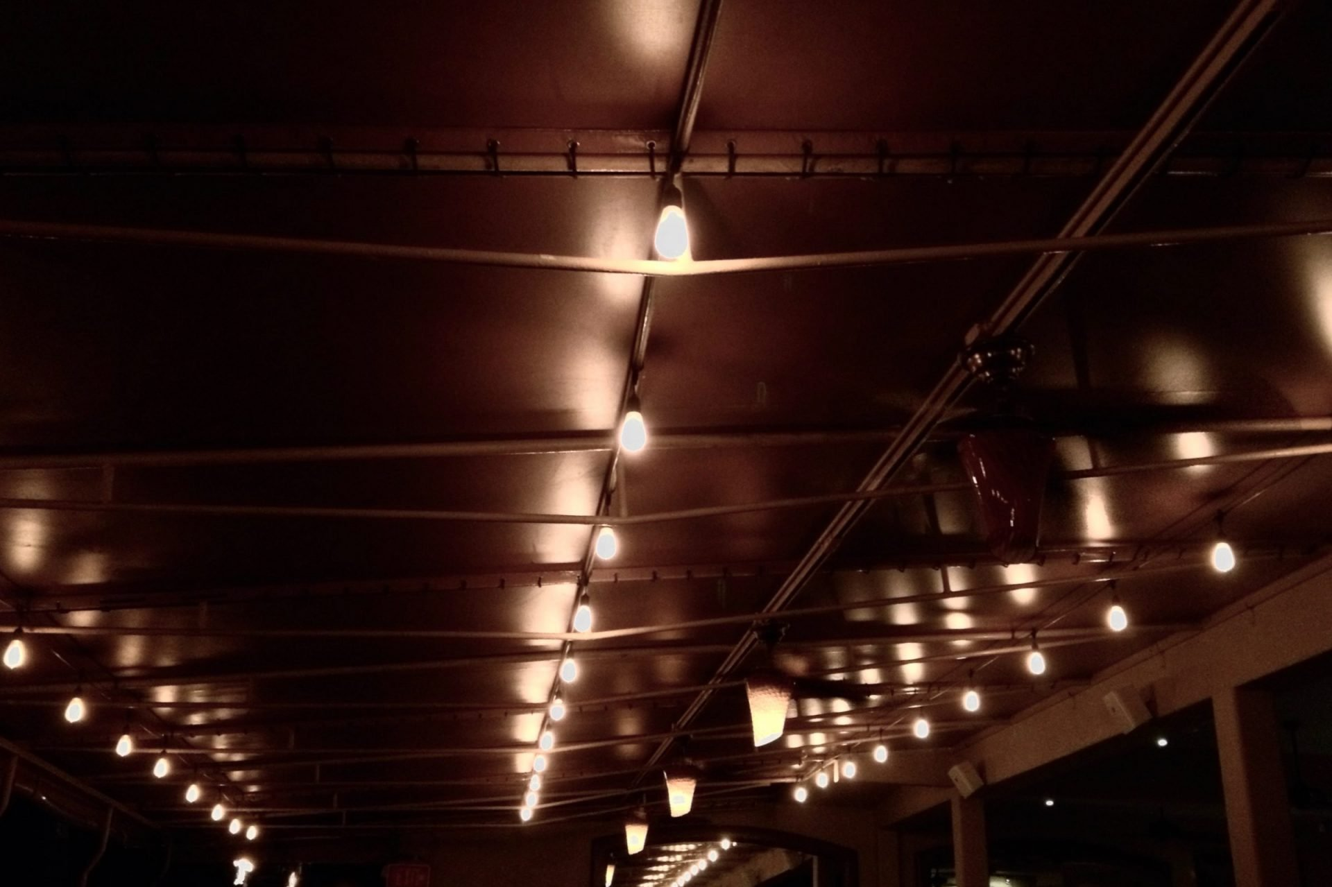Lights on Industrial Ceiling