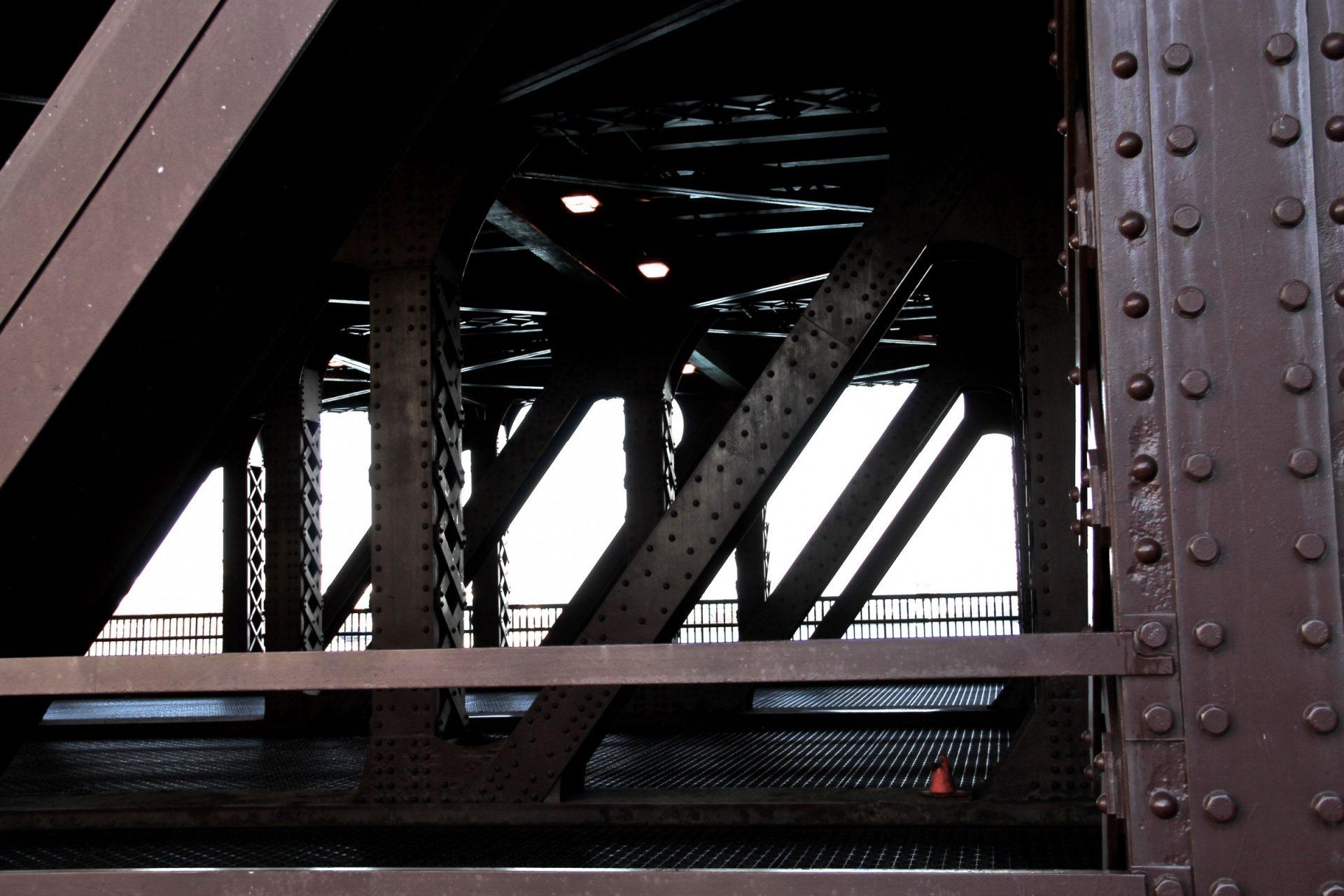 Metal Diagonal Beams on Bridge