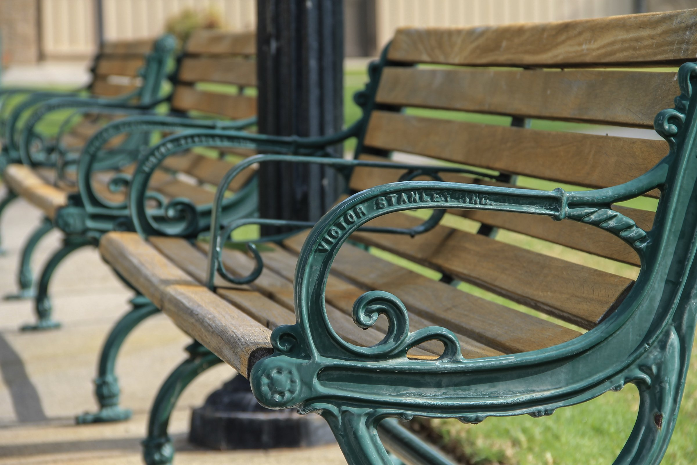 Free Stock Photo Of Metal Wood Park Benches In Row