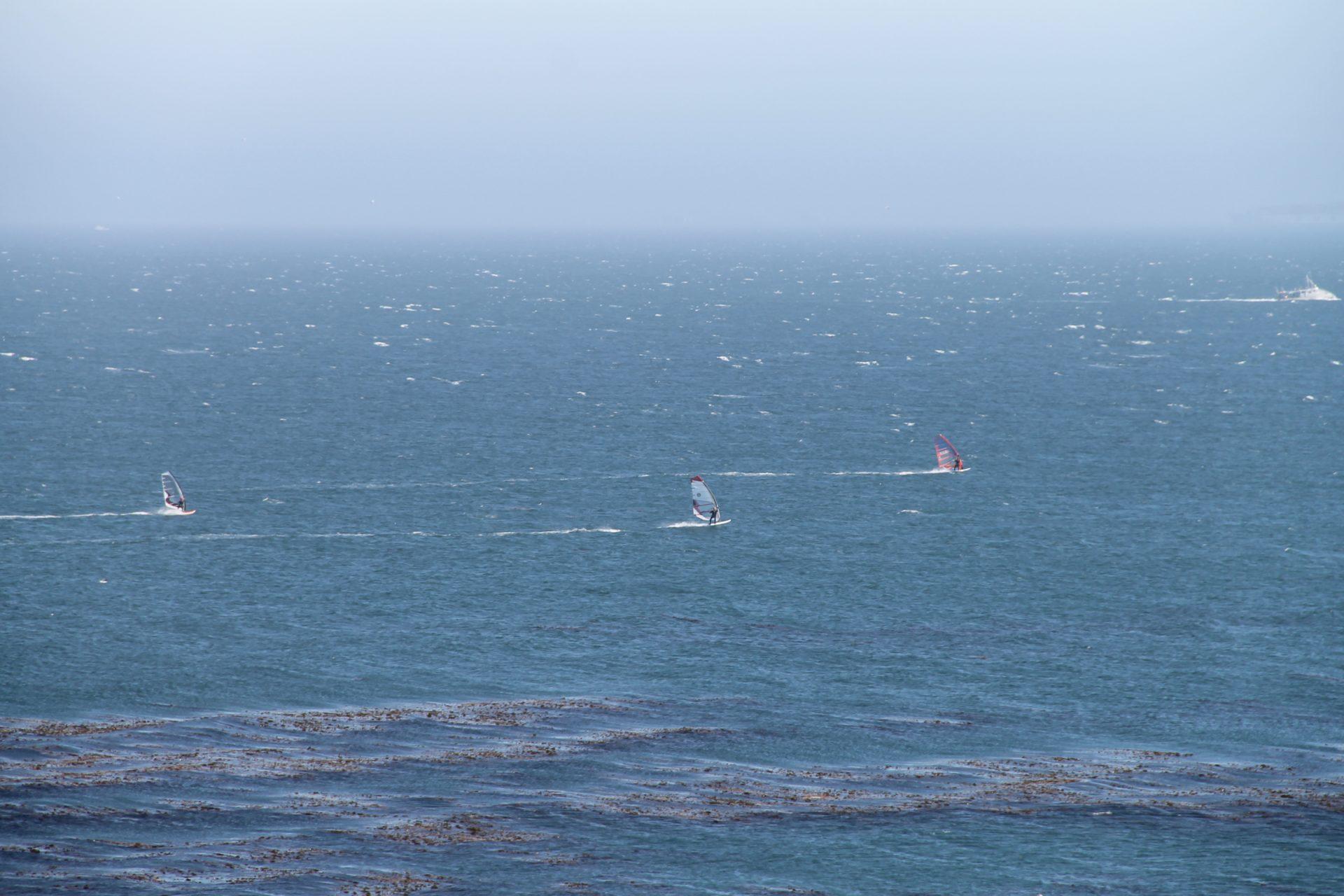 Windsurfers on Ocean