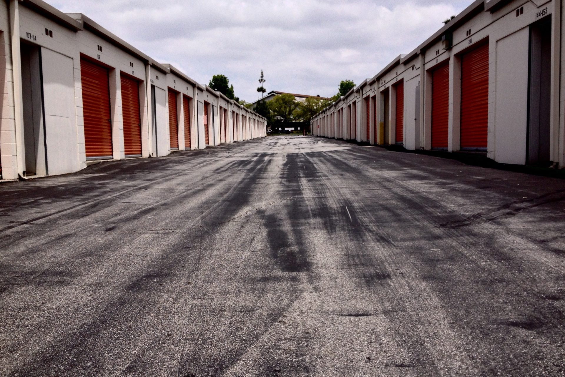 Concrete Pathway Between Storage Buildings