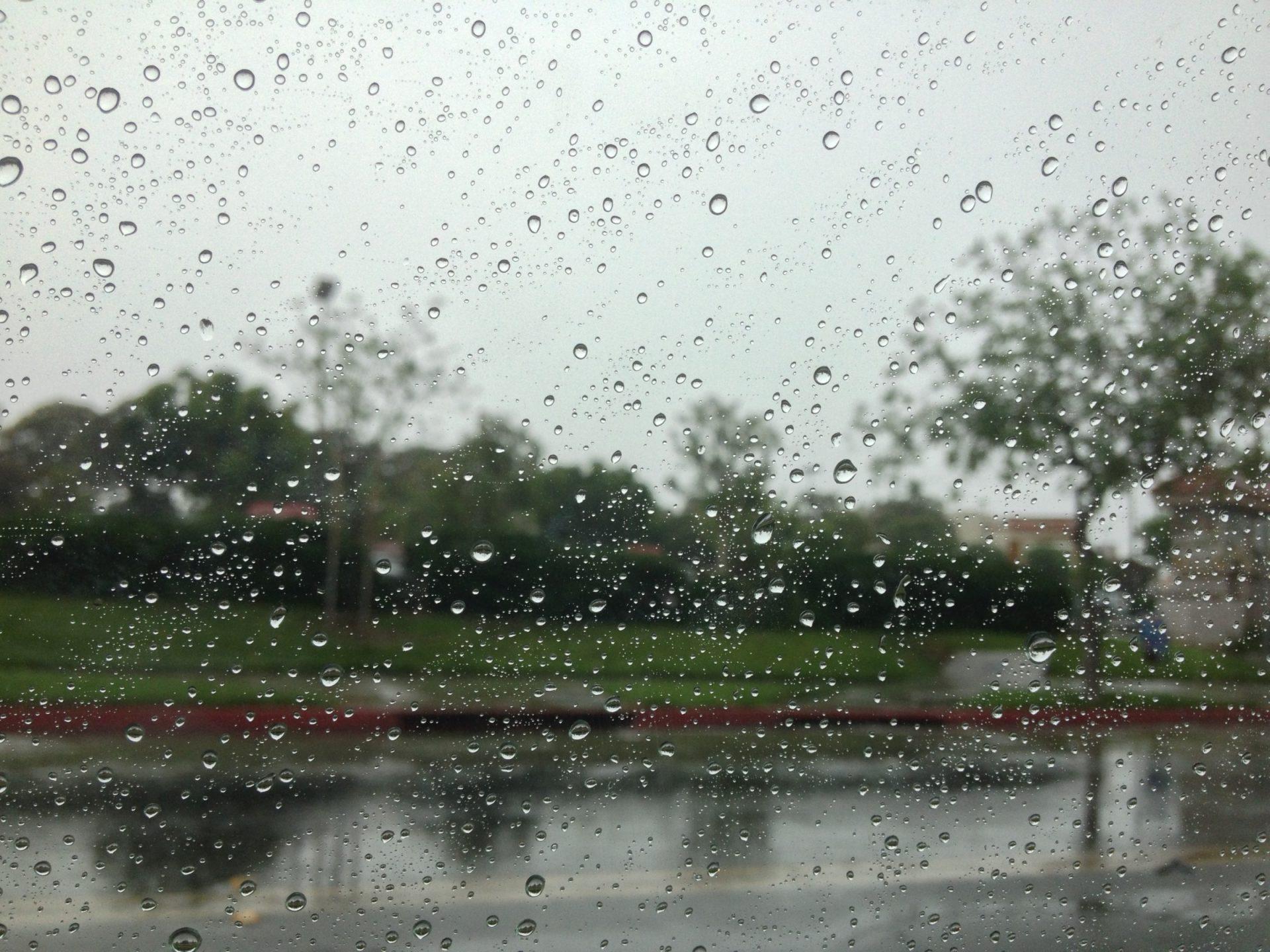 Raindrops on Window Looking at Street