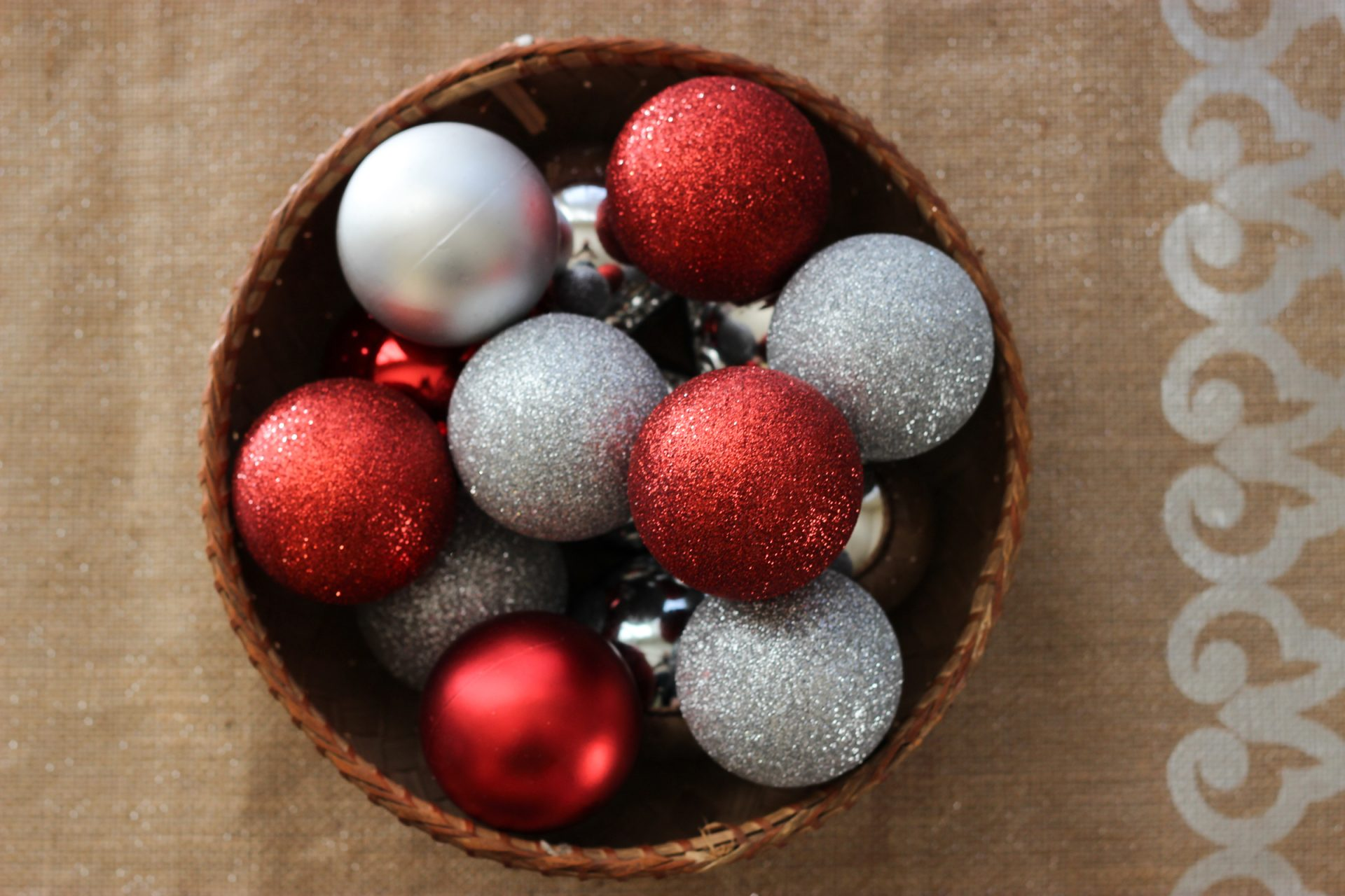 Red & Silver Ball Ornaments in Basket