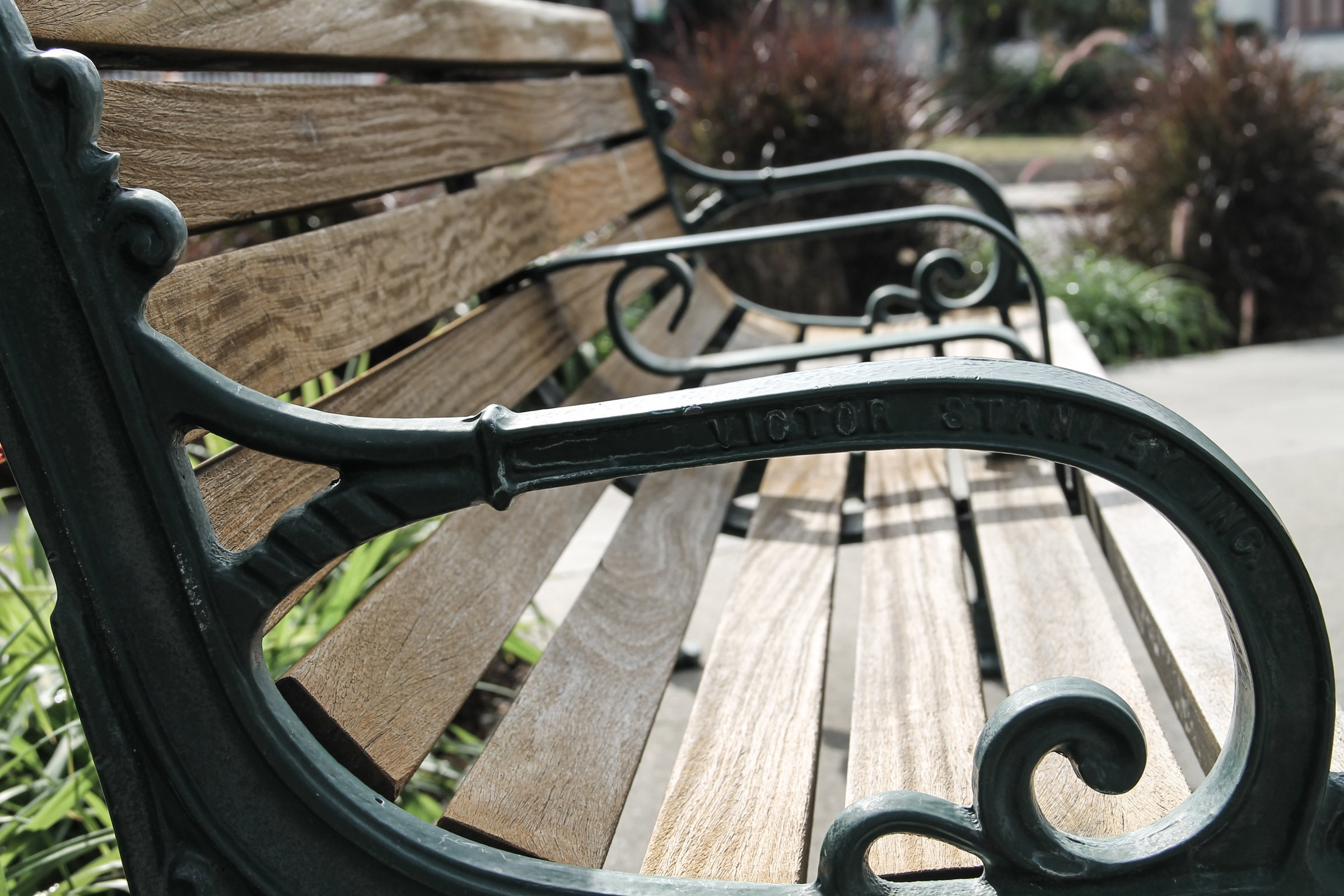 Free Stock Photo Of Side Of A Park Bench Armrest