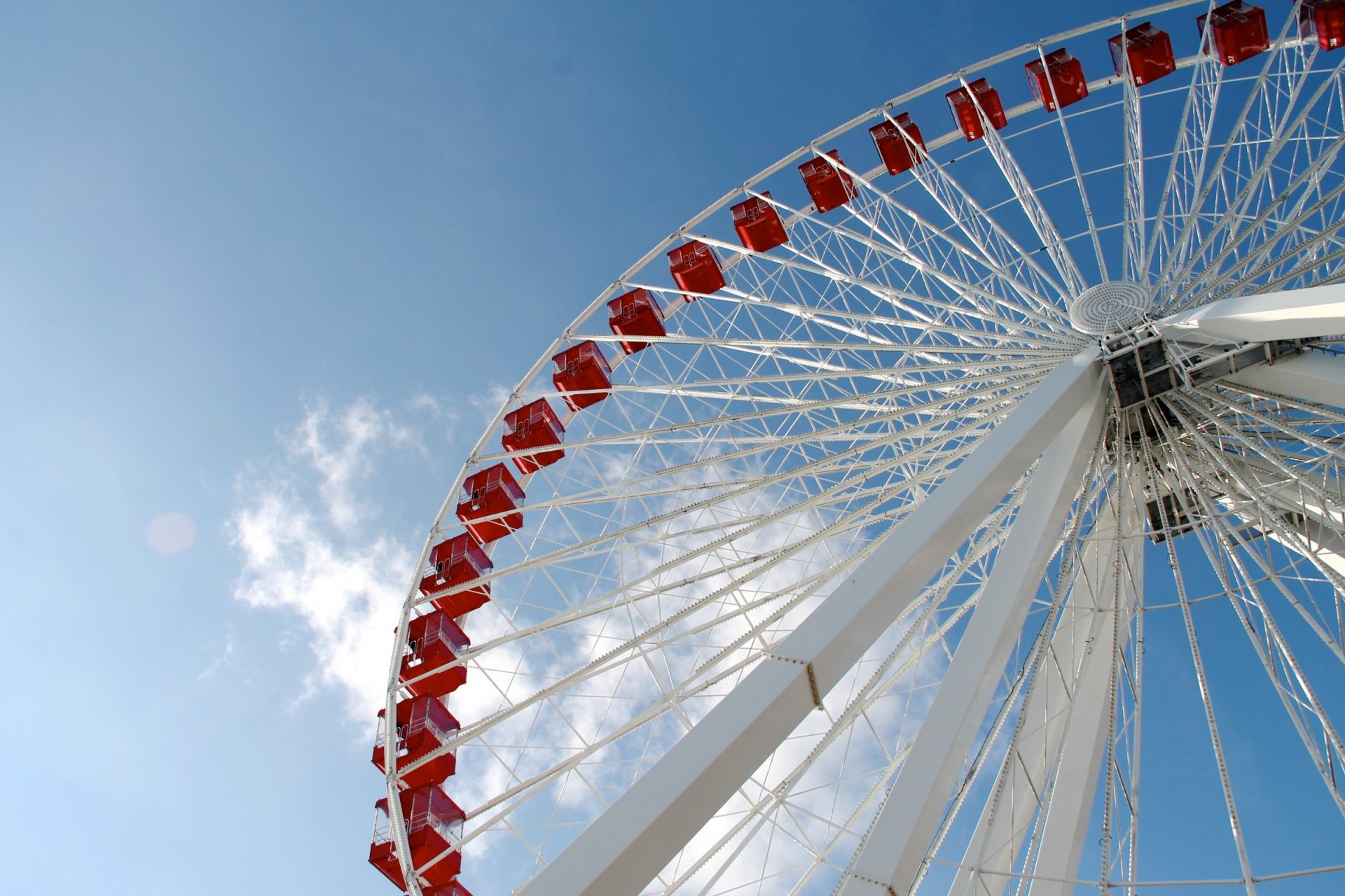 White & Red Ferris Wheel in Blue Sky