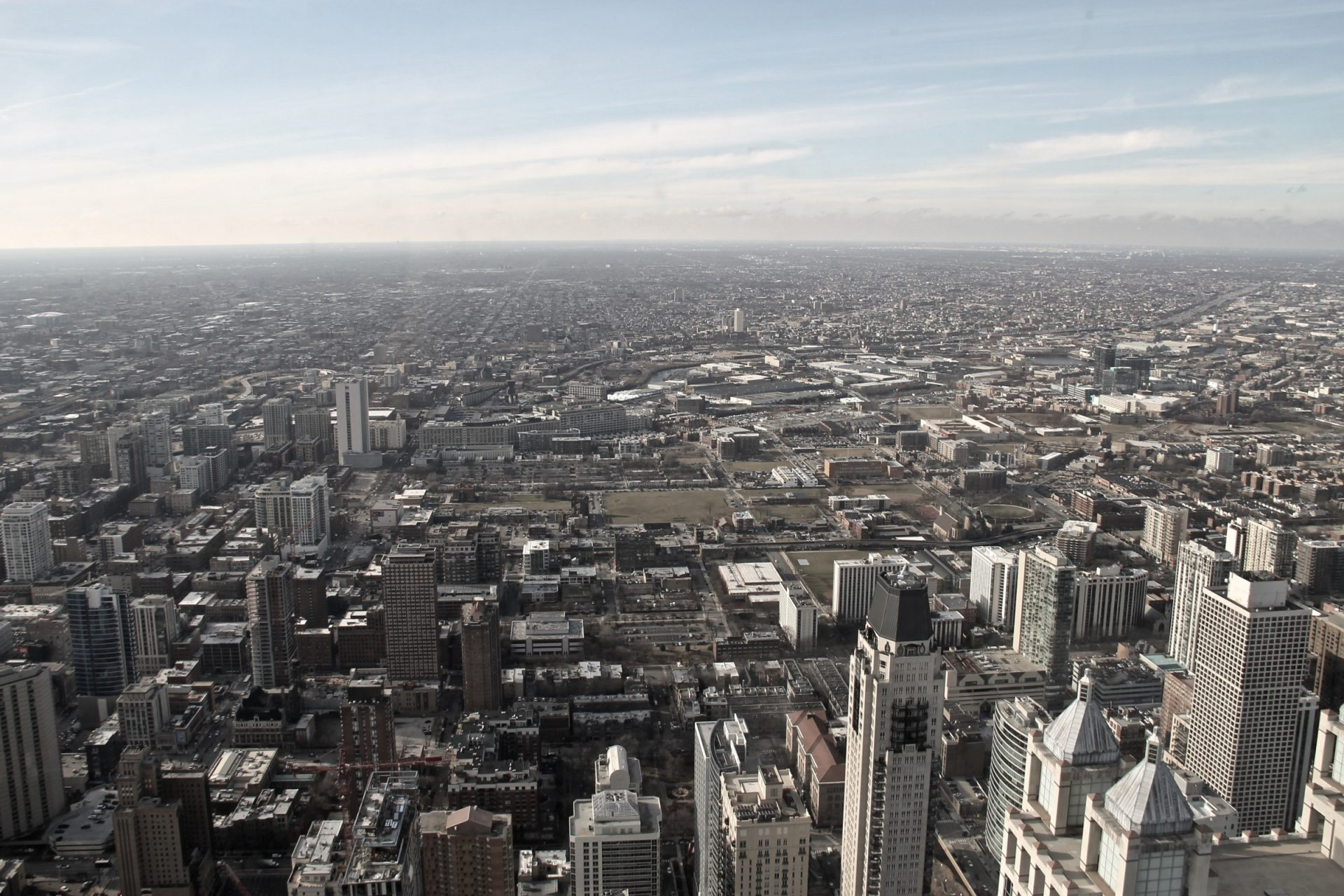 Wide Skyline of City Downtown & Suburbs